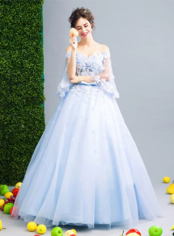 In Stock:Ship in 48 hours Blue Flying Sleeve Appliques Quinceanera Dress