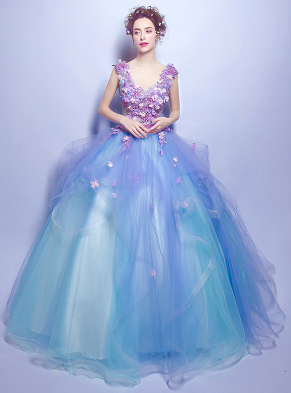 In Stock:Ship in 48 hours Tulle Appliques Blue Quinceanera Dress