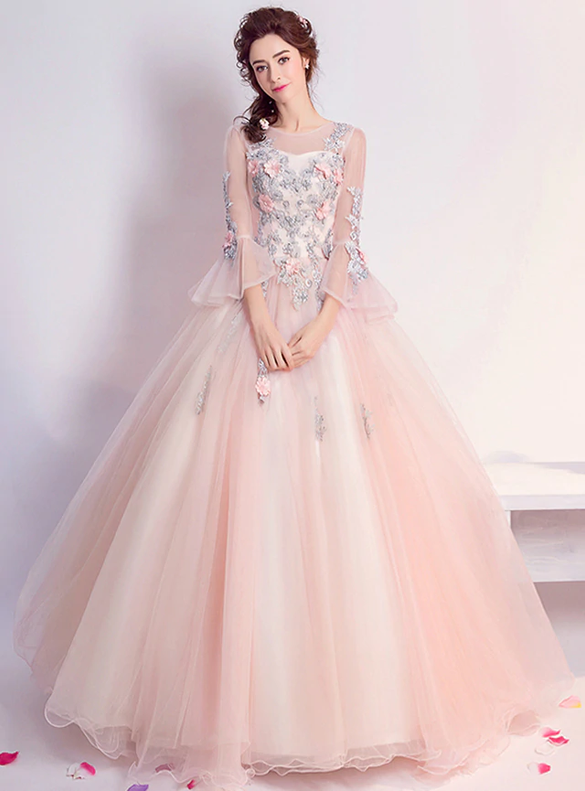 In Stock:Ship in 48 hours Long Sleeve Pink Quinceanera Dress