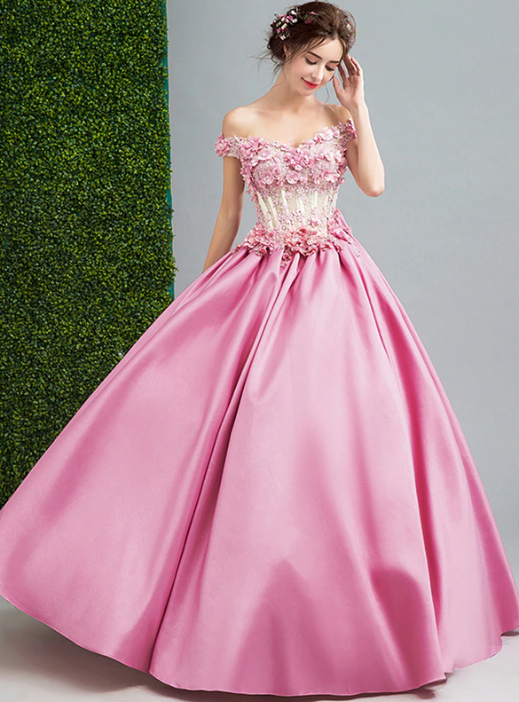 In Stock:Ship in 48 hours Satin Appliques Quinceanera Dress