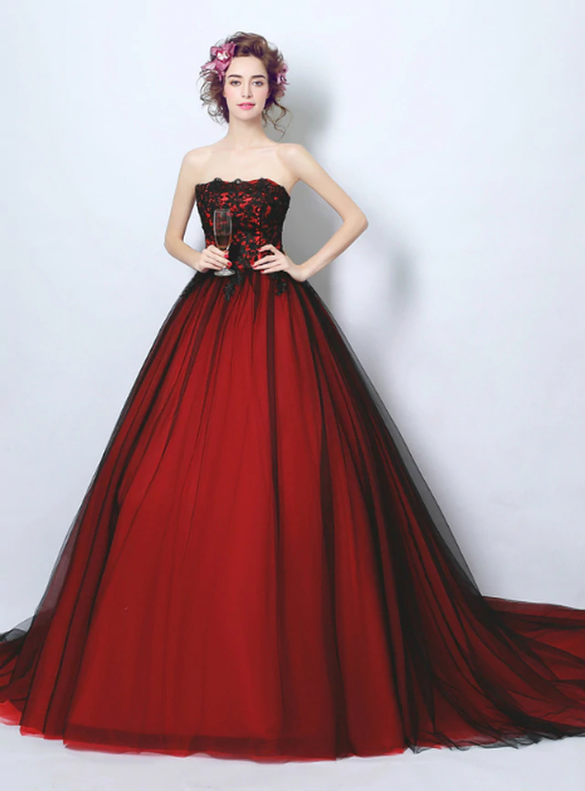In Stock:Ship in 48 hours Red Tulle Quinceanera Dress