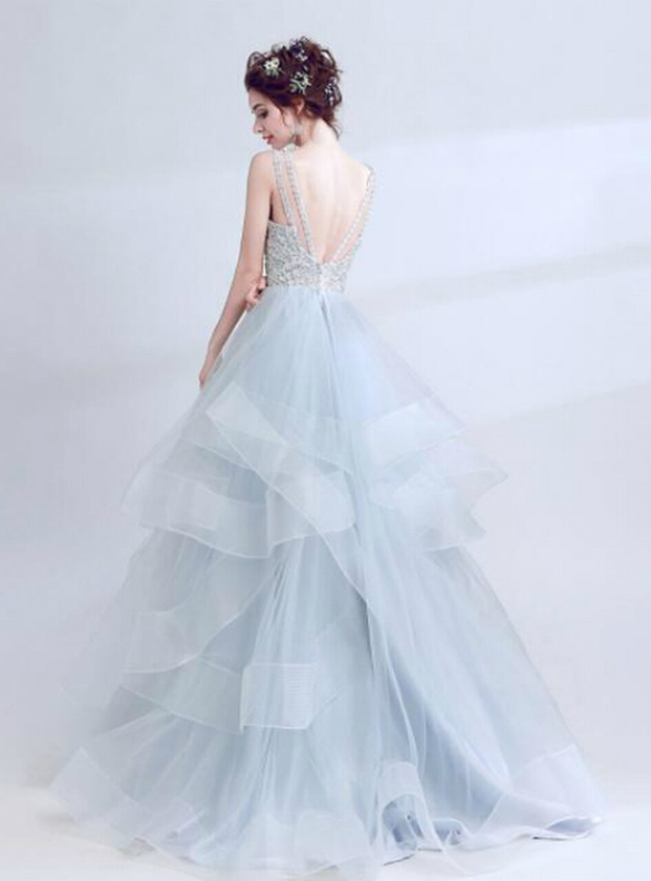 In Stock:Ship in 48 hours Gray Tulle Backless Quinceanera Dress