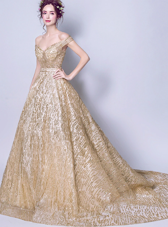 In Stock:Ship in 48 hours Tulle Sequins Gold Quinceanera Dress