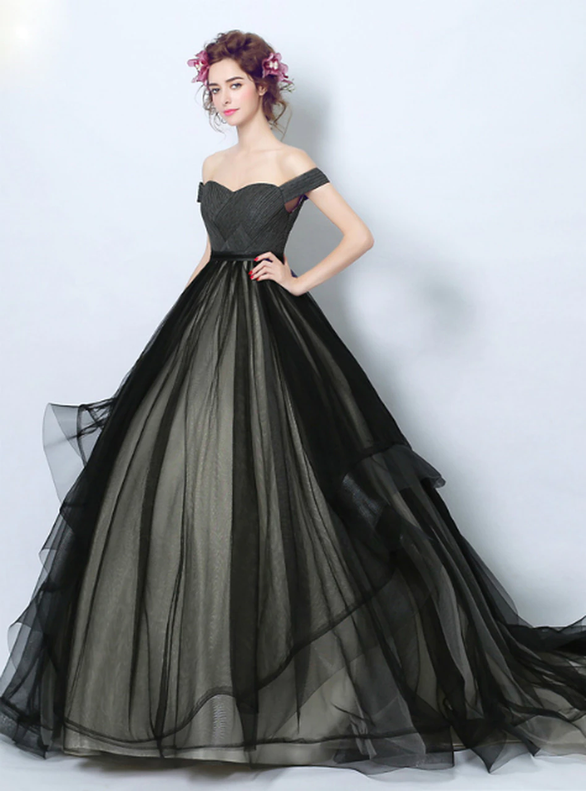 In Stock:Ship in 48 hours Black Tulle Off the Shoulder Quinceanera Dress