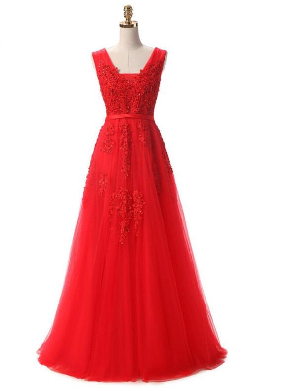 In Stock:Ship in 48 hours Tulle Appliques Prom Dress