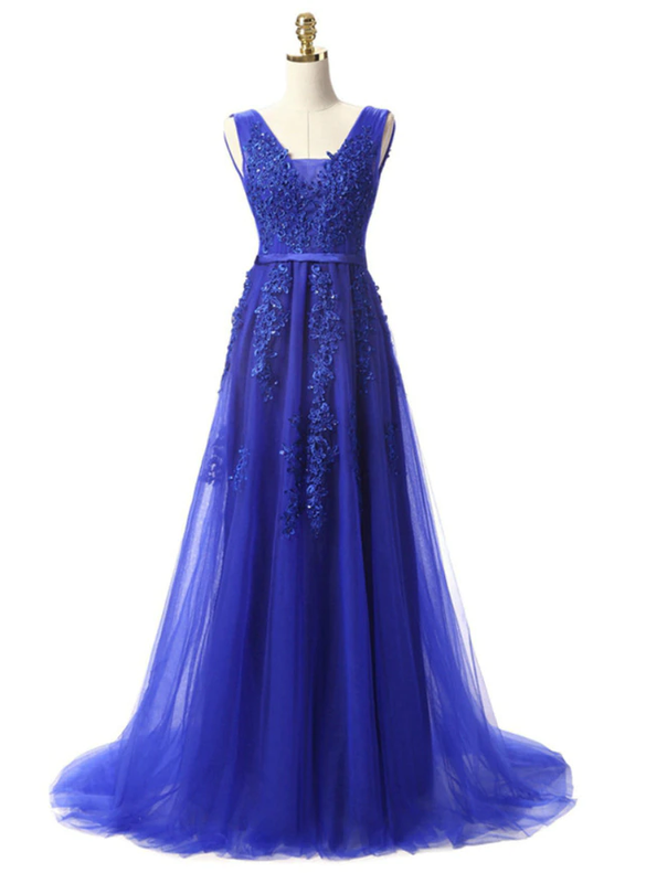 In Stock:Ship in 48 hours Royal Blue Tulle Appliques Prom Dress
