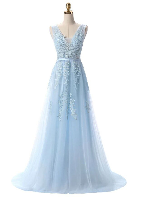 In Stock:Ship in 48 hours Light Blue Tulle Appliques Prom Dress