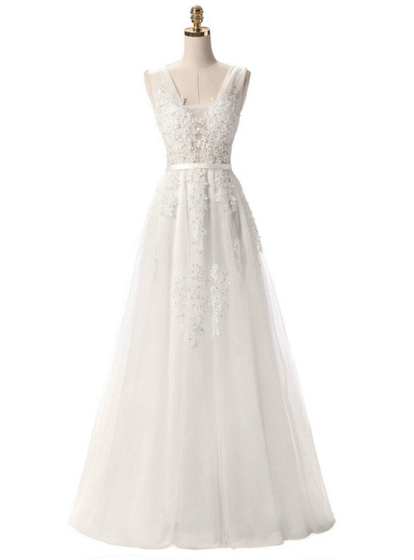 In Stock:Ship in 48 hours White Tulle Appliques Prom Dress