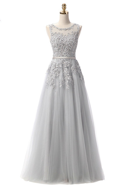 In Stock:Ship in 48 hours Gray Tulle Appliques Prom Dress