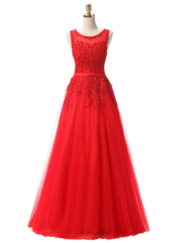 In Stock:Ship in 48 hours Red Tulle Appliques Prom Dress