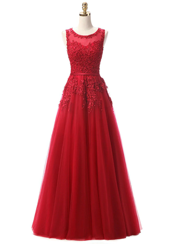 In Stock:Ship in 48 hours Burgundy Tulle Appliques Prom Dress