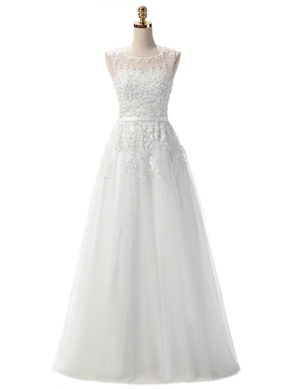 In Stock:Ship in 48 hours White Appliques Prom Dress