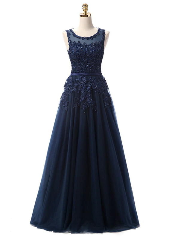 In Stock:Ship in 48 hours Navy Blue Tulle Appliques Dress