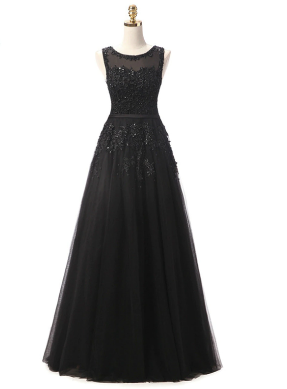 In Stock:Ship in 48 hours Black Tulle Appliques Dress