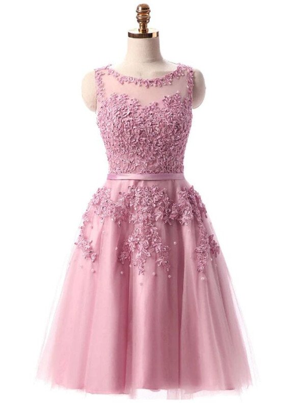 In Stock:Ship in 48 hours Pink Tulle Appliques Dress