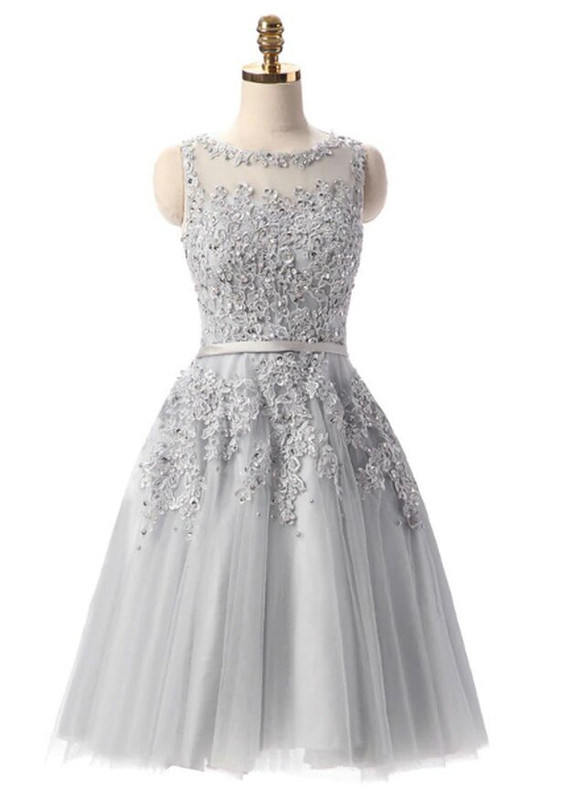 In Stock:Ship in 48 hours Gray Tulle Appliques Beading Dress