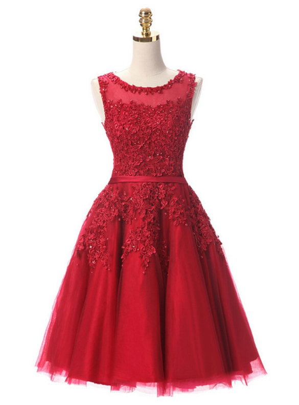 In Stock:Ship in 48 hours Burgundy Tulle Appliques Beading Dress
