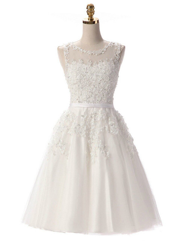In Stock:Ship in 48 hours White Tulle Appliques Beading Dress