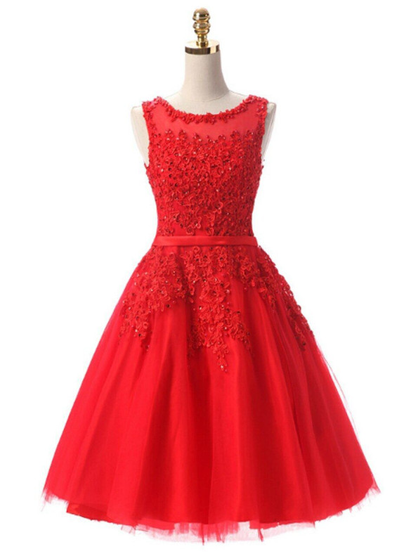 In Stock:Ship in 48 hours Red Tulle Appliques Beading Dress