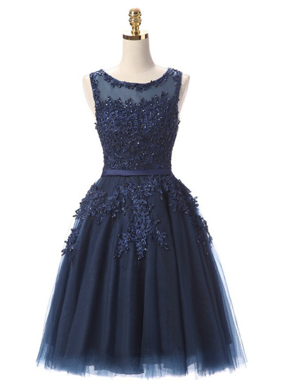 In Stock:Ship in 48 hours Navy Blue Tulle Appliques Beading Dress