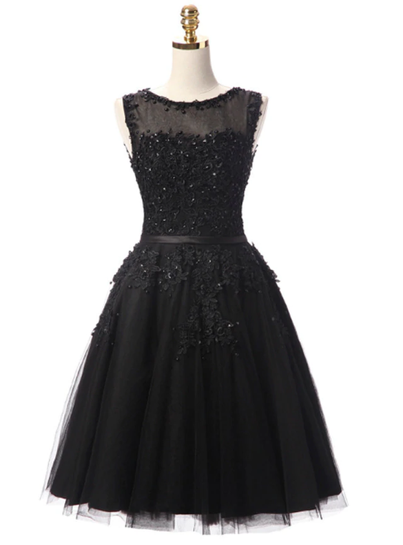 In Stock:Ship in 48 hours Black Tulle Appliques Beading Dress