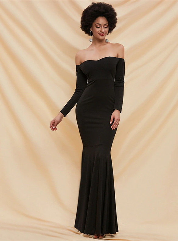 In Stock:Ship in 48 Hours Black Long Sleeve Party Dress