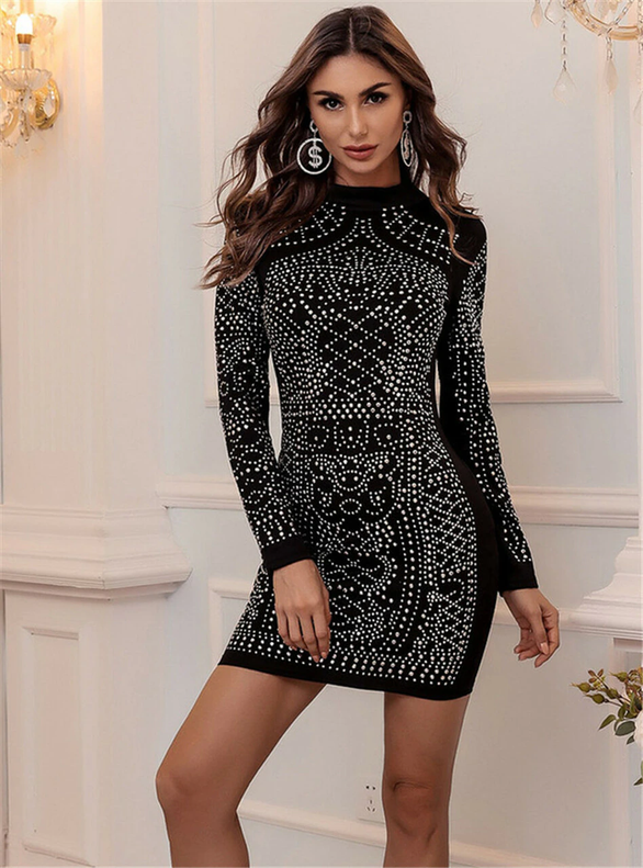 In Stock:Ship in 48 Hours Black Long Sleeve Beading Party Dress