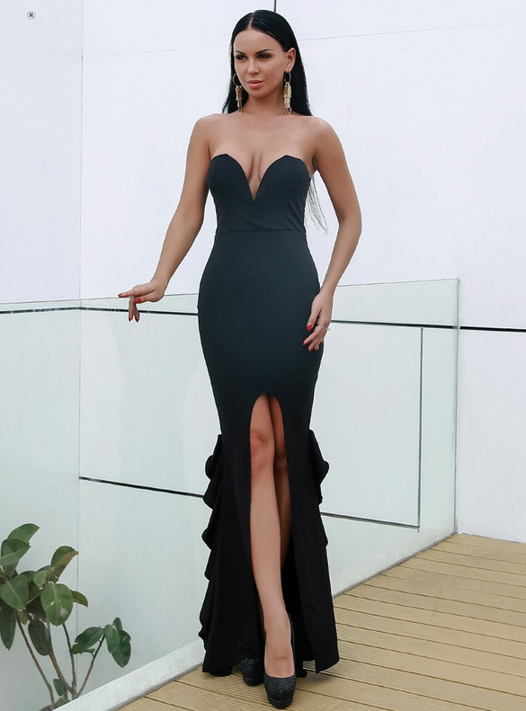 In Stock:Ship in 48 Hours Black Party Dress With Split