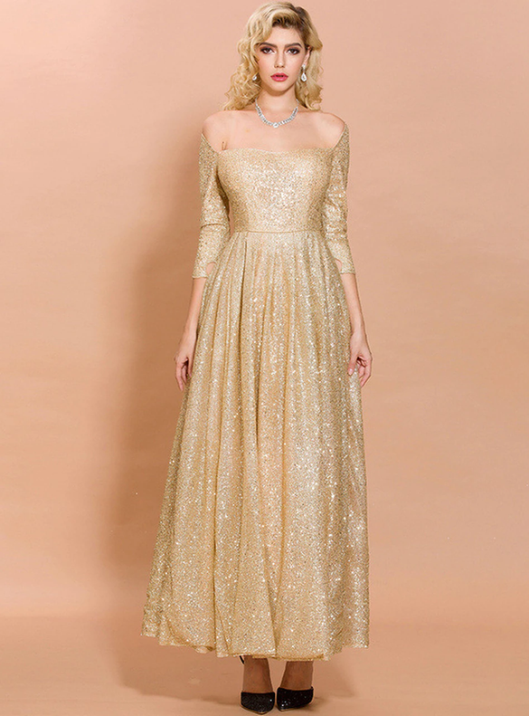 In Stock:Ship in 48 Hours Sexy Gold Sequins Party Dress