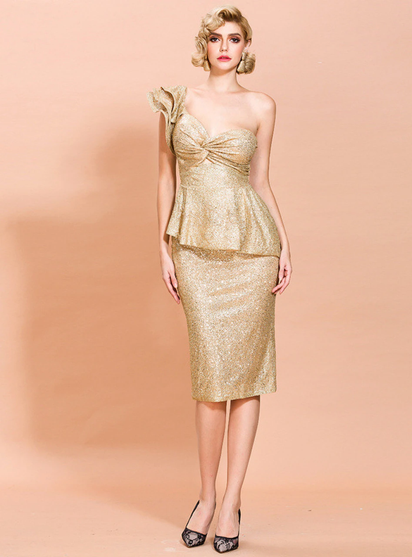 In Stock:Ship in 48 Hours Gold One Shoulder Party Dress