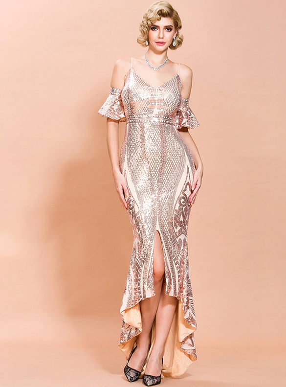 In Stock:Ship in 48 Hours Rose Gold Sequins Party Dress