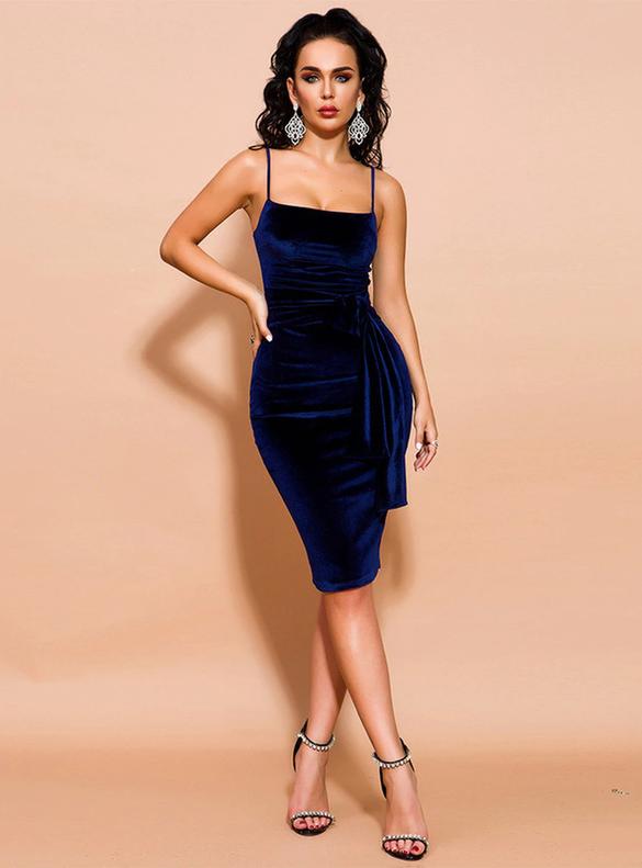 In Stock:Ship in 48 Hours Blue Velvet Party Dress