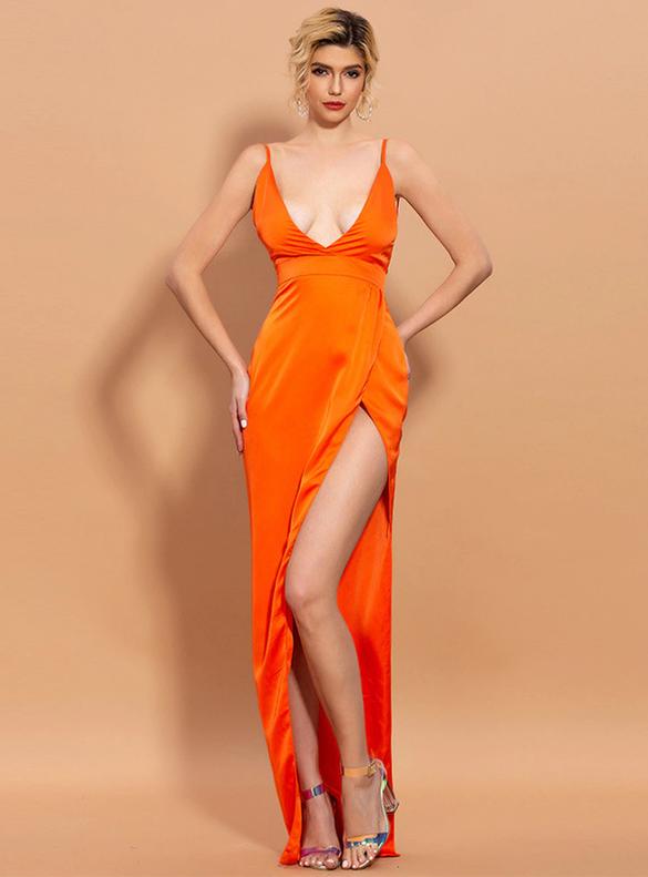 In Stock:Ship in 48 Hours Orange Satin Party Dress