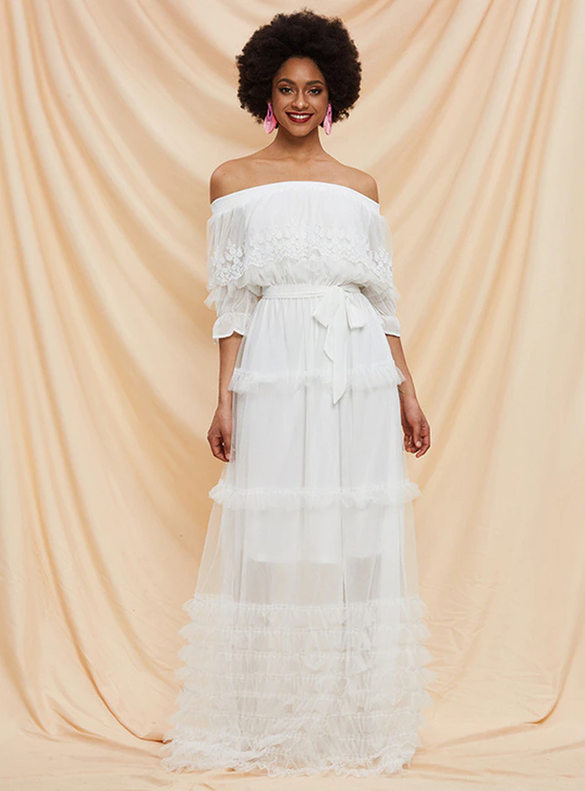 In Stock:Ship in 48 Hours White Chiffon Party Dress