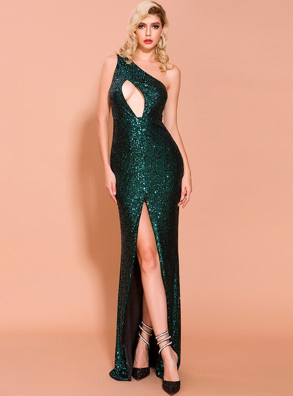 In Stock:Ship in 48 Hours Green Sequins Party Dress
