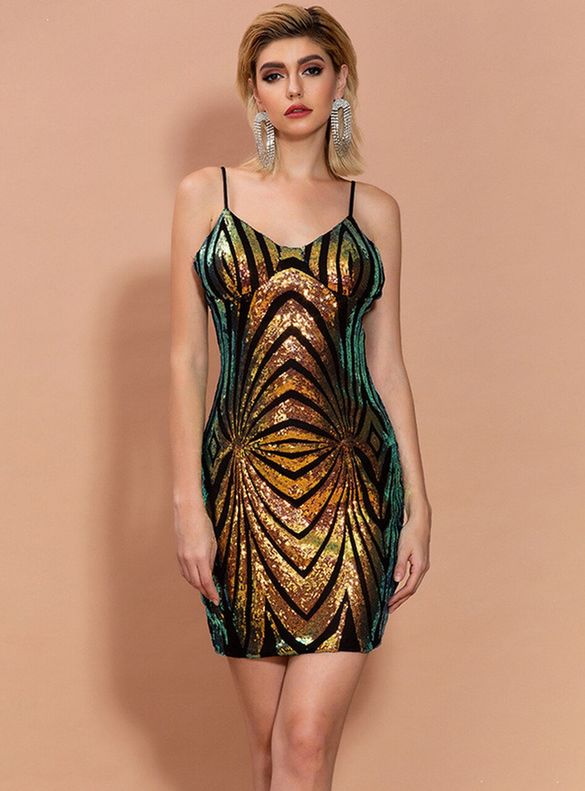 In Stock:Ship in 48 Hours Gold Sequins Mini Party Dress