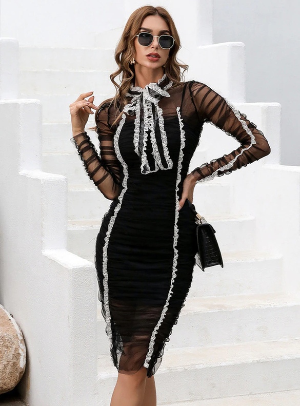 In Stock:Ship in 48 Hours Black Long Sleeve Knee Length Party Dress