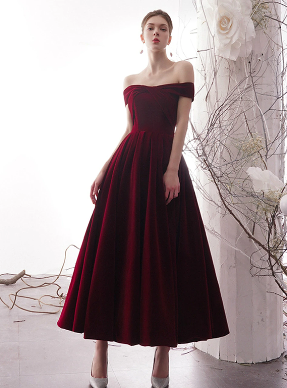 Burgundy Velvet Off the Shoulder Prom Dress