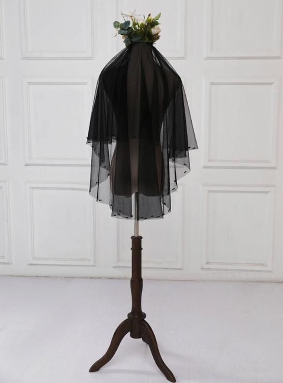 Black Tulle Beading Bride Veil