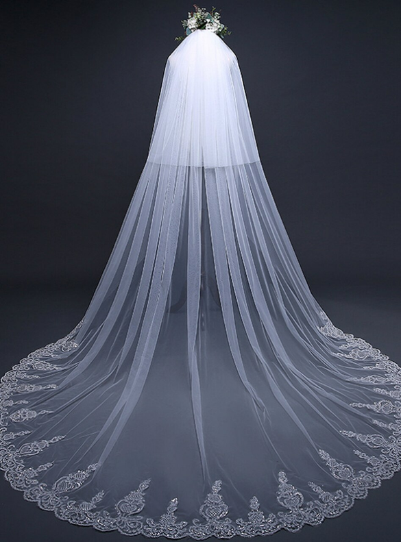 Amazing White Lace Sequins Lace Yarn Veil