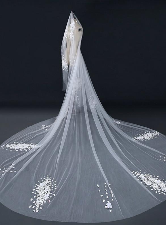 Women Tulle Appliques Brides Veil