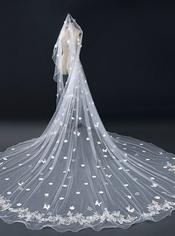 White Tulle Butterfly Appliques Brides Veils