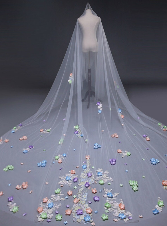 Muiticolor Flower Tulle Wedding Veil