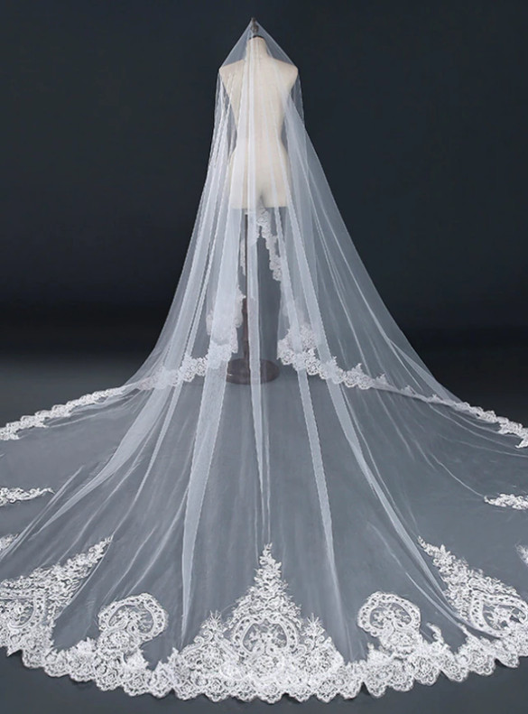 White Tulle Appliques Longer Brides Veils