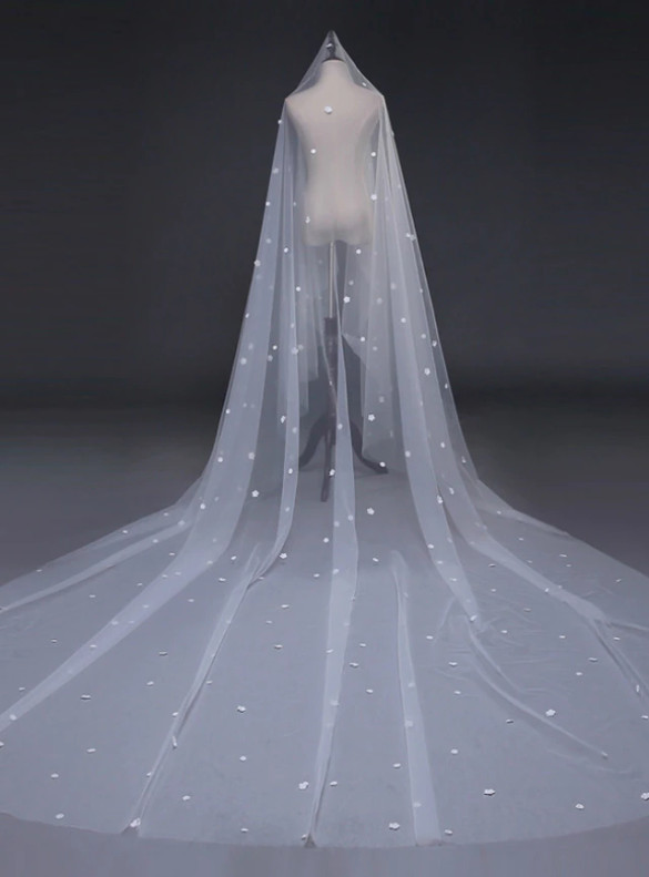 Brides White Veils Mop Wedding Bride Veil