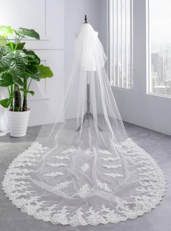 Women White Appliques Bride Yarn Tulle Veils