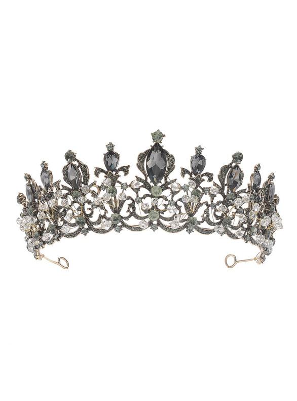 Women Black Crown New Retro Baroque Crown