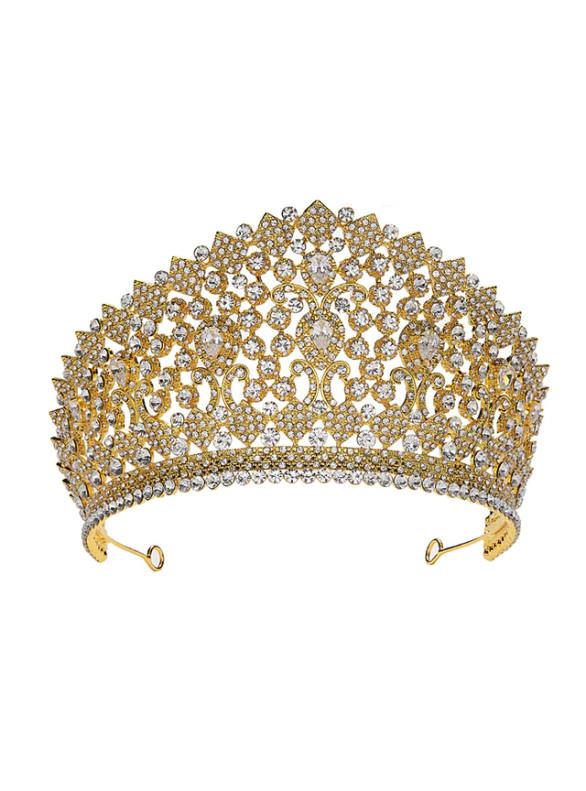 Gold Queen Diamond Zircon Crown Jewelry