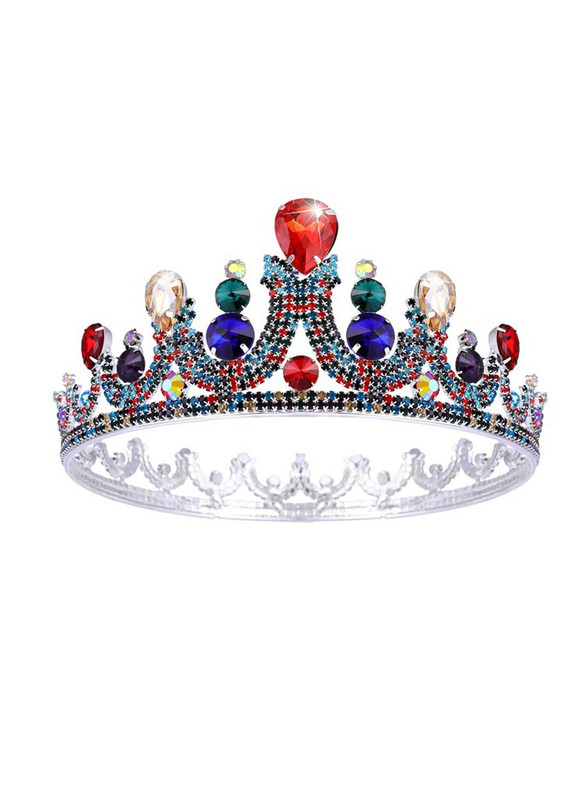 Colorful Bride Baroque Crystal Round Crown Headdress