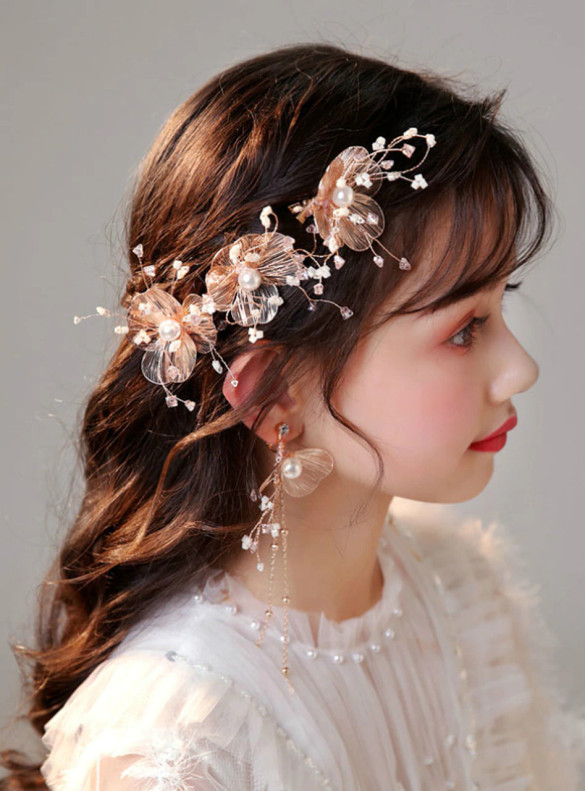 Gold Girls Hair Clips Champagne Accessories